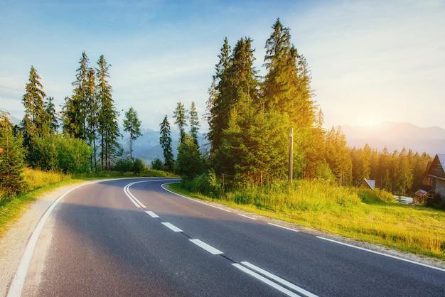 La route mène à travers les bois aux montagnes au coucher du soleil.