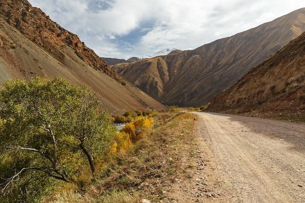 Route de montagne le long de la rivière kokemeren dans la région de naryn au kirghizistan.