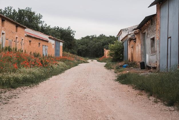 Route non pavée et vieilles maisons d'adobe entourées d'arbres sous un ciel nuageux concept de ville abandonnée