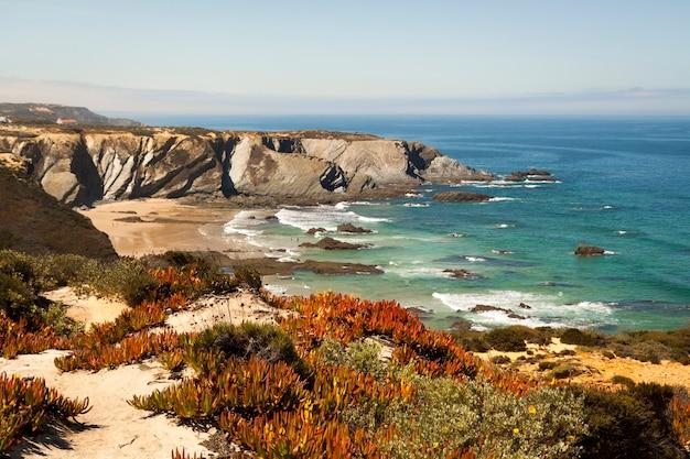Route des pêcheurs dans la promenade de l'alentejo avec falaises au portugal passerelle en bois le long de la côte