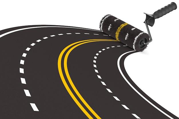 Route peinte avec brosse à rouleau sur fond blanc. illustration 3d isolée