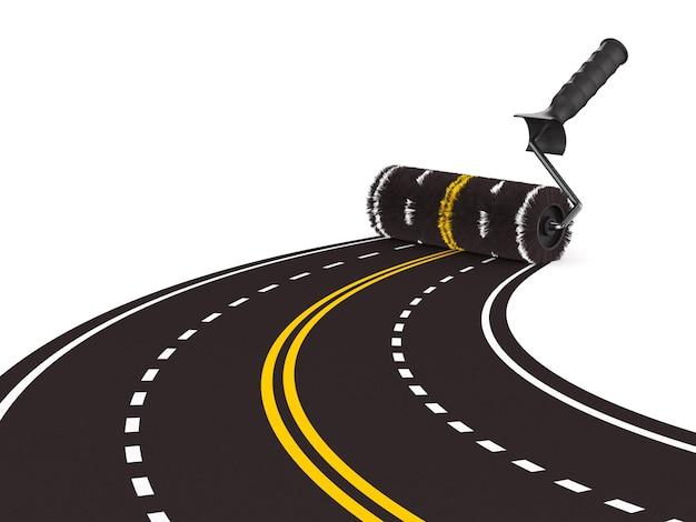 Route peinte avec brosse à rouleau sur une surface blanche isolée