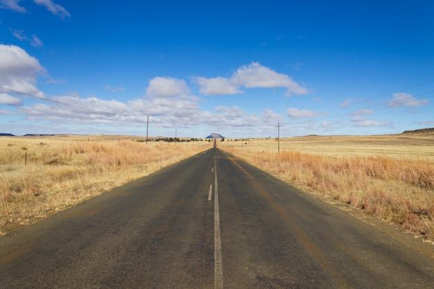 Route en perspective depuis orange free state, afrique du sud