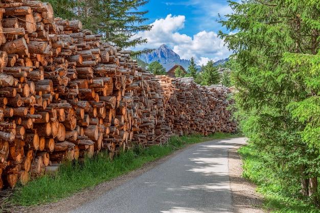 Route rurale avec bois de chauffage récolté pour l'hiver.