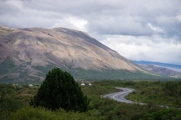 Route en s près de la colline avec arbre vert et ciel en islande.
