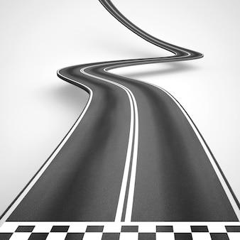 Route sinueuse avec ligne de départ ou d'arrivée