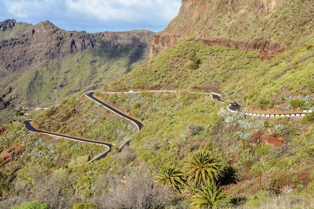 Route sinueuse de montagne menant au village de masca, tenerife, espagne. route sinueuse. belle vue.