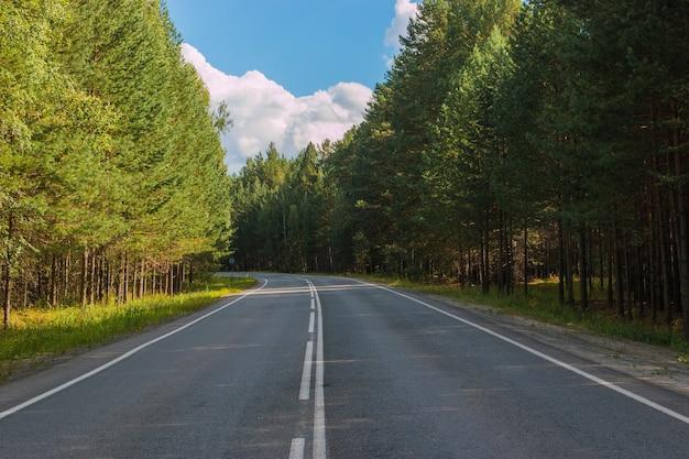 Route à travers la forêt profonde verte en russie. autour des pins verts et du ciel bleu, des journées ensoleillées et des périodes d'automne