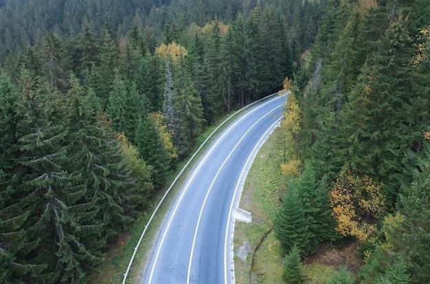 La route traverse une forêt dense dans les montagnes.