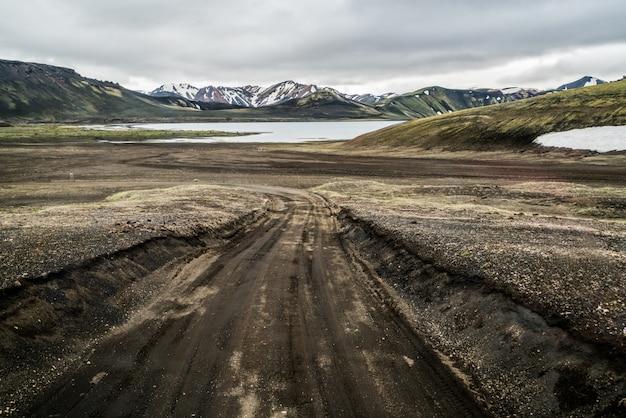 Route vers landmanalaugar sur les hautes terres d'islande