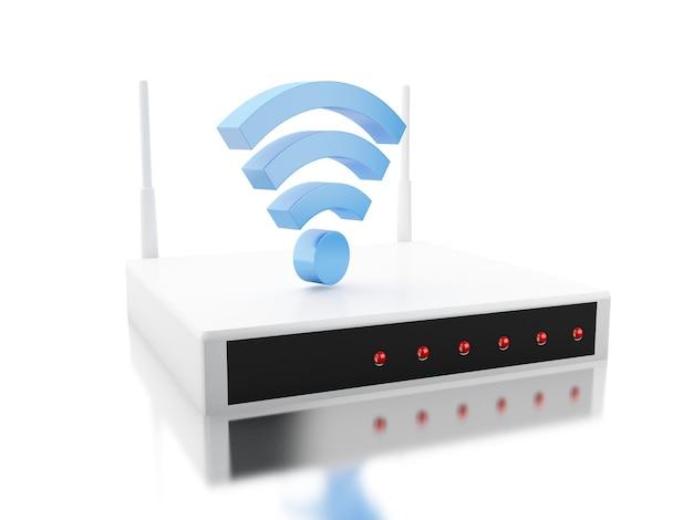 Routeur 3d avec signe wi-fi