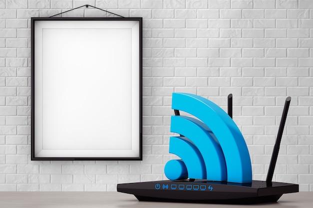 Routeur wifi moderne 3d avec panneau wifi devant le mur de briques avec gros plan extrême de cadre vierge