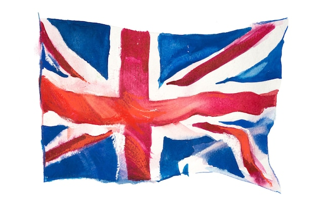 Royaume-uni, drapeau britannique. illustration aquarelle dessinée à la main.
