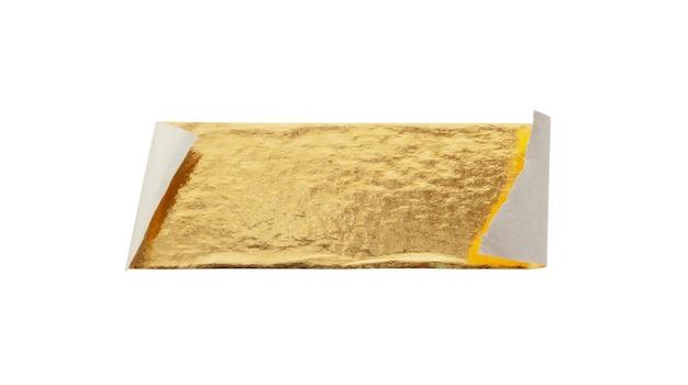 Ruban adhésif feuille d'or isolé sur fond blanc
