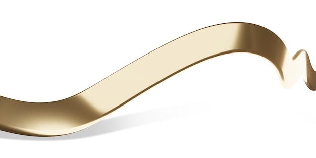 Ruban d'or sur fond blanc illustration 3d