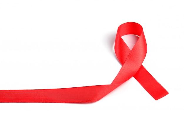 Ruban rouge de sensibilisation au sida.
