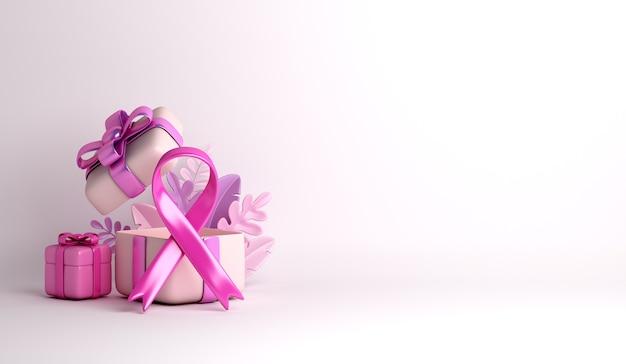 Ruban de sensibilisation au cancer du sein avec fond de décoration de boîte-cadeau