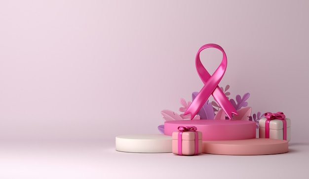 Ruban de sensibilisation au cancer du sein avec fond de décoration de podium de boîte-cadeau