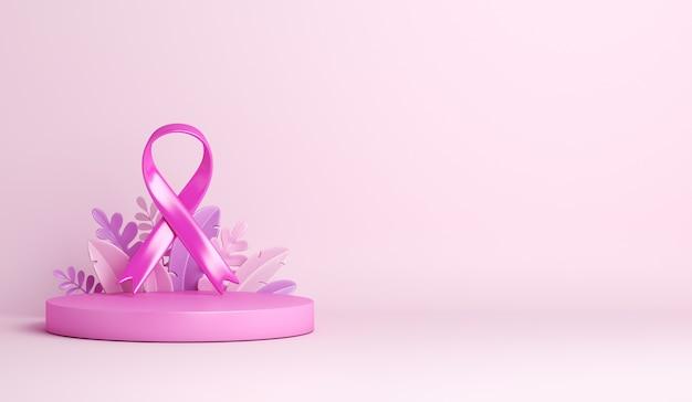 Ruban de sensibilisation au cancer du sein avec fond de décoration de podium