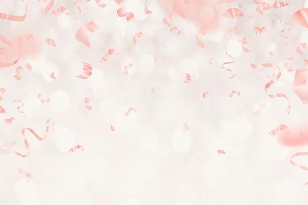 Rubans 3d d'anniversaire d'or rose pour la carte de voeux sur le fond de scintillement