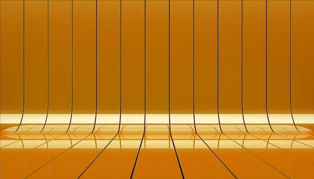 Rubans orange stade 3d illustration.