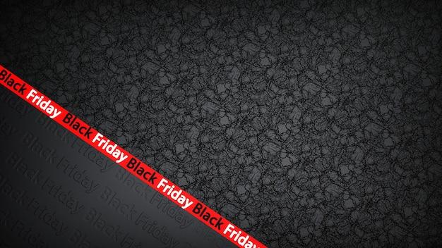Rubans rouges pour vente vendredi noir sur fond noir