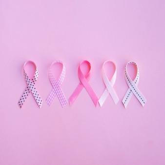 Rubans de sensibilisation au cancer vue de dessus