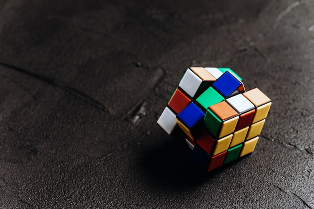 Rubik's cube on black background