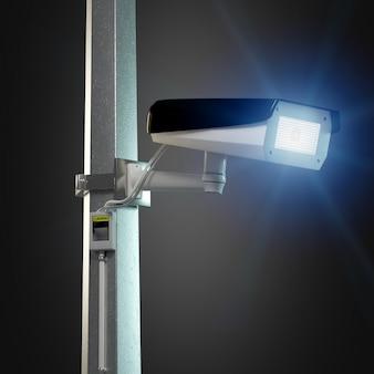 Rue caméra de vidéosurveillance isolée sur le rendu 3d