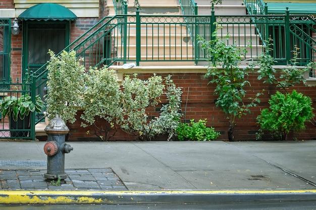 Rue harlem. bouche d'incendie, porte et escalier de la maison. nyc, états-unis