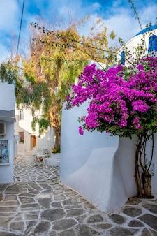 Rue pittoresque de la ville de naoussa sur l'île de paros en grèce