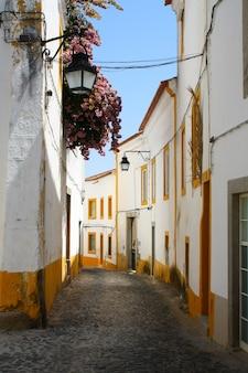 Ruelle pittoresque de la ville d'evora au portugal.