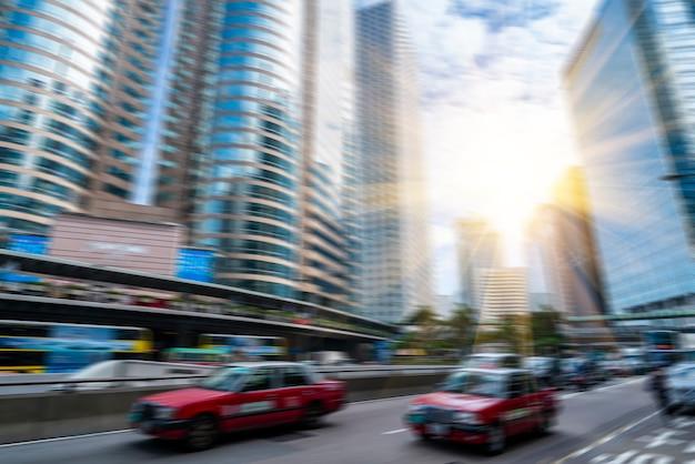 Rues floues de la ville du centre de hong kong