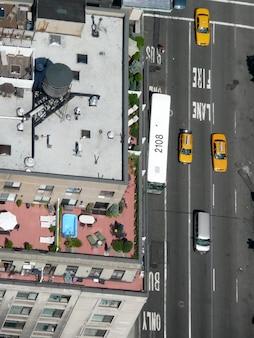 Rues de la ville de new york, vue du ciel