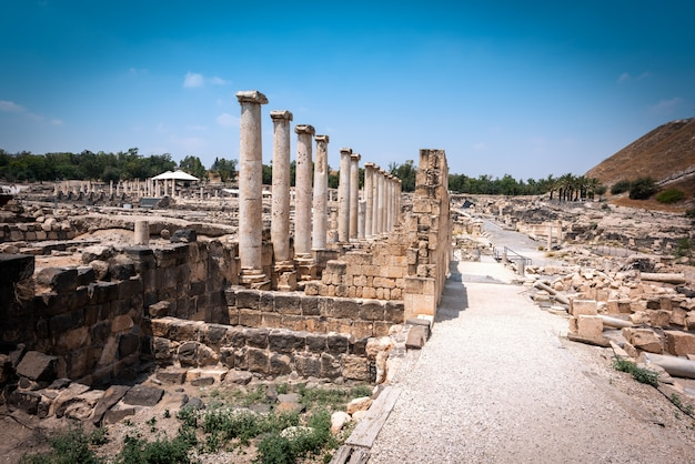 Les ruines de bet shean en israël