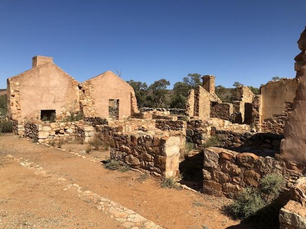 Ruines dans le désert avec des arbres et un ciel bleu clair