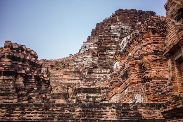Ruines du temple d'ayutthaya, wat maha that ayutthaya comme site du patrimoine mondial, thaïlande.