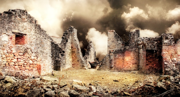 Ruines de maisons détruites par un bombardement
