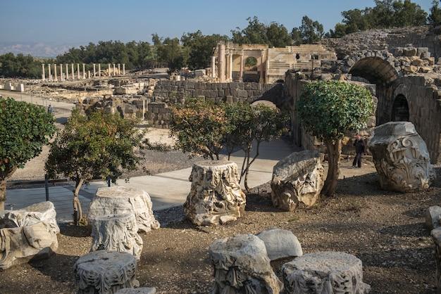 Ruines sur le site archéologique, parc national bet she'an, district de haïfa, israël