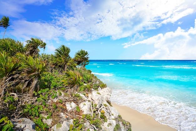 Ruines de la ville maya de tulum sur la riviera maya aux caraïbes