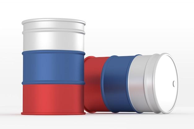 Russie barils de drapeau de style pétrolier isolés
