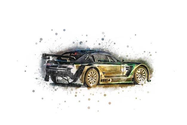 Russie, sotchi - 29 juillet 2018 : dessin en couleur d'une voiture de sport sur la route. les voitures de sport sont populaires
