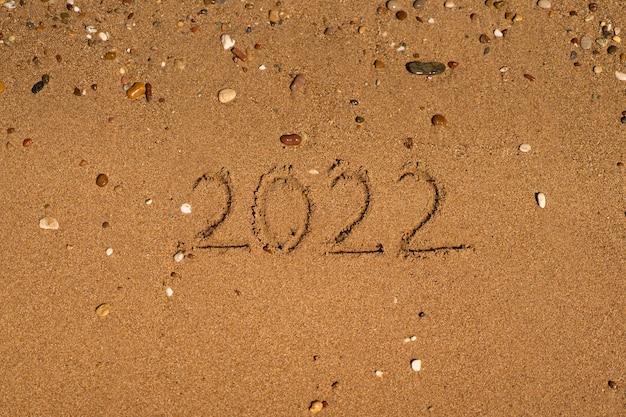 S'appuie sur le sable sur une plage avec une vague au bord de la mer vacances sur la mer concept de nouvel an