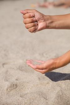 Le sable qui traverse les mains des femmes est un symbole du temps qui s'écoule