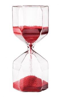 Sablier en verre vintage avec sable rouge