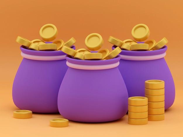 Sac d'argent et icône de pièces d'or avec la couleur du signe dollar et le rendu 3d d'arrière-plan