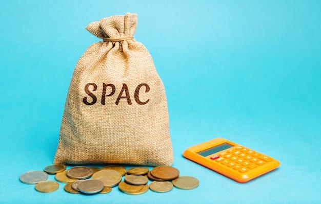 Sac d'argent avec le mot spac société d'acquisition à usage spécial