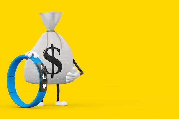 Sac d'argent ou sac d'argent en toile rustique attaché avec un tracker de fitness bleu sur fond jaune. rendu 3d