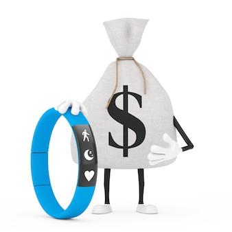 Sac d'argent ou sac d'argent en toile rustique lié avec un tracker de remise en forme bleu sur fond blanc. rendu 3d