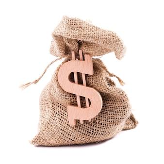 Sac d'argent avec symbole dollar
